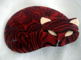 Lea Stein - Red and Black Swirled Cat Brooch by Lea Stein of Paris (SOLD)